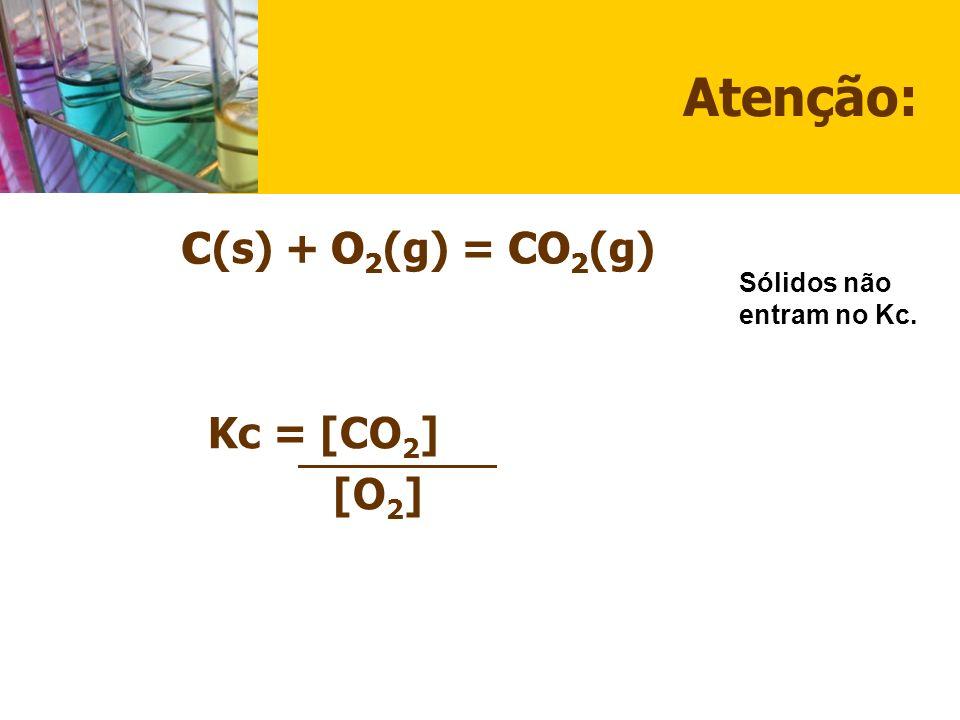 Atenção: C(s) + O2(g) = CO2(g) Kc = [CO2] [O2] C O2 CO2